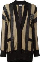 Brunello Cucinelli striped cardigan - women - Silk/Linen/Flax/Polyamide/Swarovski Crystal - S