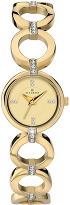Accurist Women's Quartz Watch with Gold Dial Analogue Display and Gold Bracelet 8058.01
