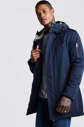 boohoo Parka Coat With Borg Lined Hood