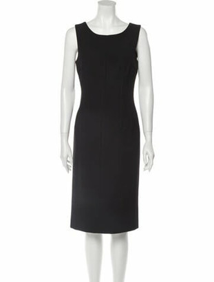 Dolce & Gabbana Scoop Neck Midi Length Dress Black