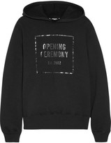 Opening Ceremony Established Printed Cotton-jersey Hooded Top - Black
