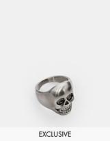 Simon Carter Antiqued Skull Ring Exclusive To Asos - Silver