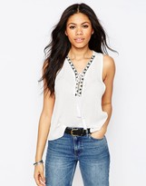 Daisy Street Tank With Tassel Tie And Embroidered Trim
