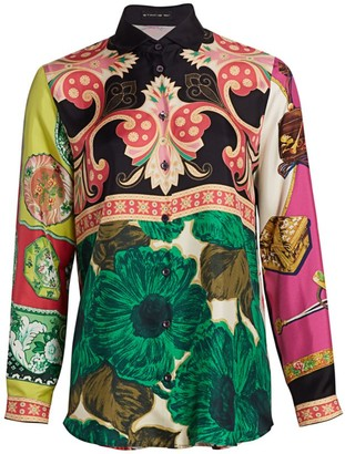 Etro Patchwork Floral Button Front Blouse