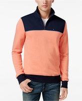 Tommy Hilfiger Men's Two-Tone Quarter-Zip Terry Sweatshirt