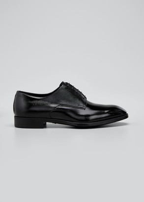 Giorgio Armani Men's Pebbled Leather Lace-Up Shoes