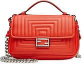 Fendi Leather Double Flap Baguette Shoulder Bag