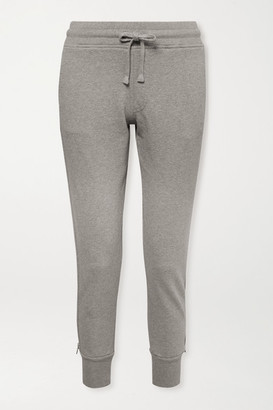 RtA Augustine Zip-detailed Cotton-terry Track Pants - Light gray
