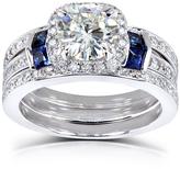 Kobelli Jewelry 2 CT Forever Brilliant Moissanite, Diamond and Sapphire 14K Gold 3-Piece Bridal Set