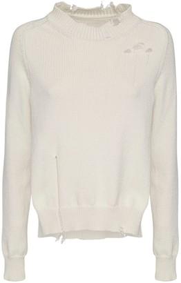 Maison Margiela Destroyed Cotton Sweater W/ Side Slit