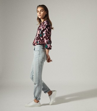 Reiss PHOENIX FLORAL PRINTED BLOUSE Pink