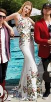 Camille La Vie Scuba T Back Floral Print Prom Dress