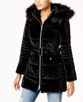 INC International Concepts Hooded Velvet Puffer Coat with Faux-Fur Trim, Created for Macy's