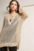 Forever 21 Open-Knit Lace-Up Tunic