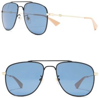 Gucci 57mm Square Aviator Sunglasses