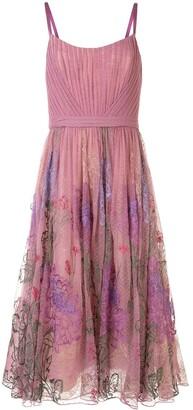 Marchesa Floral-Print Midi Gown