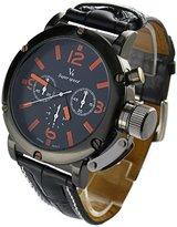 YouYouPifa? Sport Style Black Dial Leather Strap Men's Quartz Wrist Watch (Orange)