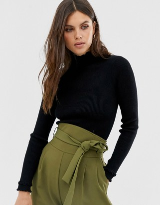 Fashion Union ribbed slim fit sweater with ruffle neck detail