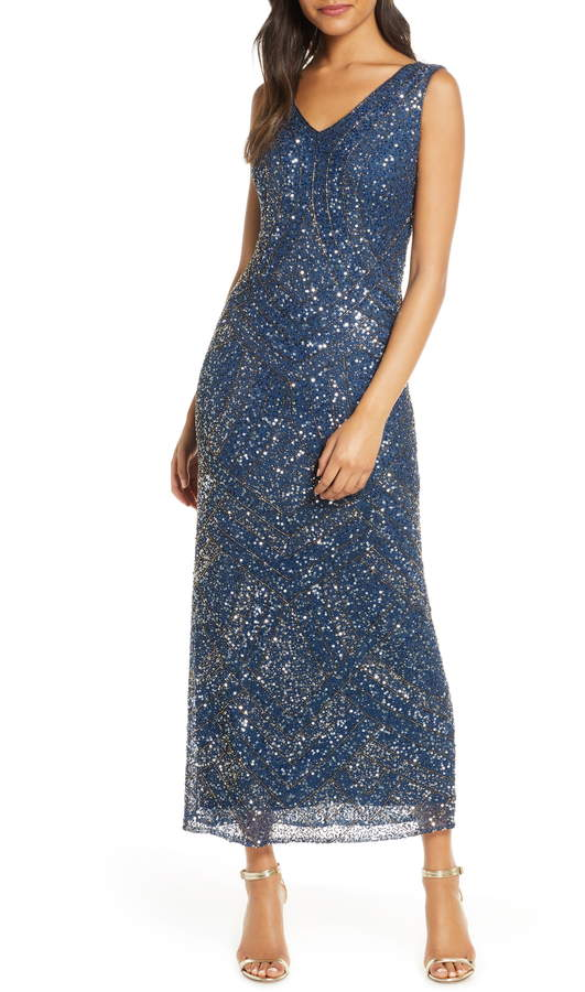 Pisarro Nights Sequin & Beaded Evening Dress