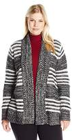 Jason Maxwell Women's Plus Size L/s Striped Cardigan W/ Side Slits Sweater