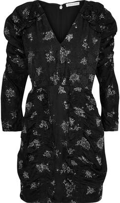 Rebecca Taylor Ruffle-trimmed Glittered Silk-jacquard Mini Dress