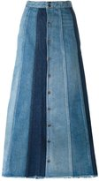 Saint Laurent patchwork denim long skirt - women - Cotton - 26