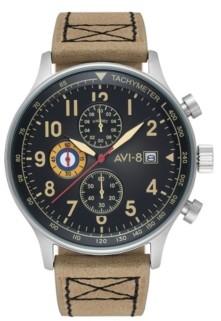 Avi 8 Avi-8 Men's Hawker Hurricane Chronograph Tan Genuine Leather Strap Watch 42mm