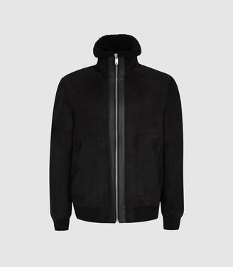 Reiss Novello - Funnel Neck Shearling Jacket in Black