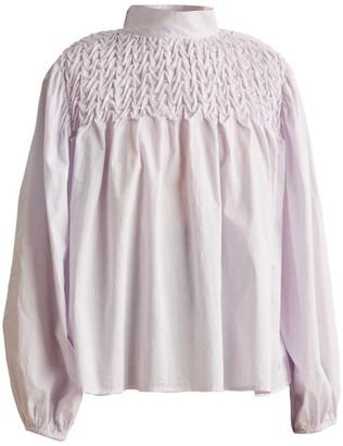 Merlette New York Paveley Wave Smocked Cotton Blouse