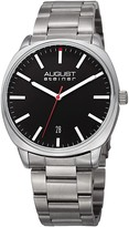 August Steiner Men's Date Display Stainless Steel Bracelet Watch