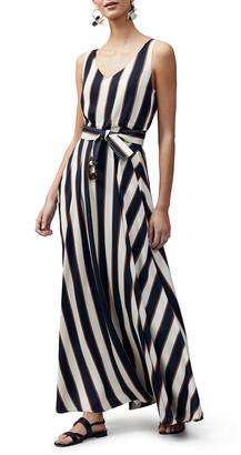 Lafayette 148 New York Memphis Seaside Stripe Sleeveless Maxi Dress