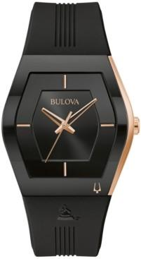 Bulova Men's Latin Grammy Black Silicone Strap Watch 40.5mm
