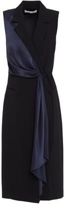 Diane von Furstenberg Satin-trimmed Draped Crepe Wrap Dress