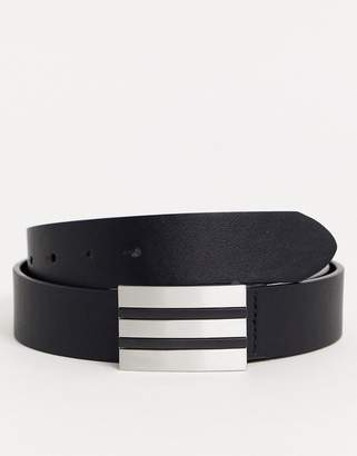 Asos Design DESIGN faux leather belt in black with plate buckle