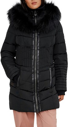 Noize Quilted Parka with Faux Fur Trim