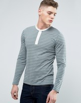 Abercrombie & Fitch Long Sleeve Henley Muscle Slim Fit Contrast Placket In Green