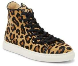 Charlotte Olympia Purrrfect Cat-Embroidered Leopard Calf Hair Sneakers