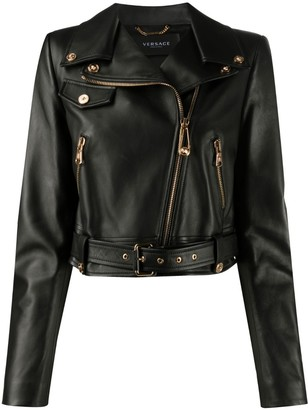 Versace Zipped Leather Cropped Biker Jacket