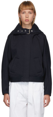 3.1 Phillip Lim Navy Buckle Strap Hooded Jacket