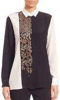 Etro Paillettes Silk Colorblocked Blouse