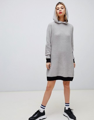 Noisy May knitted mini hoodie dress in gray with black trim
