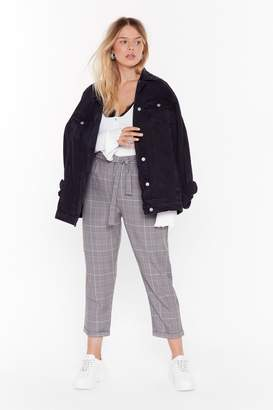 Nasty Gal Womens Tartan Up The Party Plus High-Waisted Trousers - Black - 22