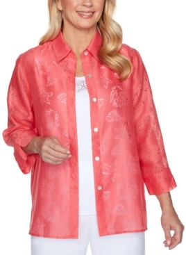Alfred Dunner Miami Beach Sheer Shell Print Button-Down Shirt