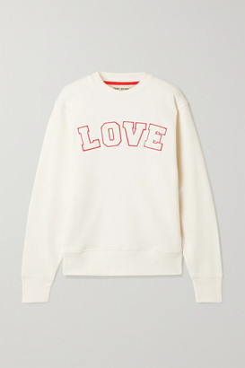 Tory Sport Appliqued French Cotton-terry Sweatshirt - Ivory