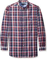 U.S. Polo Assn. Men's Big and Tall Long Sleeve Large Plaid Poplin Woven Shirt