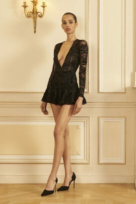 GEORGES HOBEIKA Embroidered Tulle Long Sleeve Mini Dress