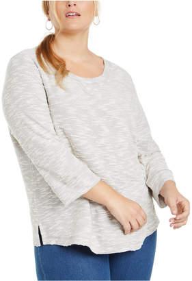 Karen Scott Plus Size Marled Textured Sweatshirt