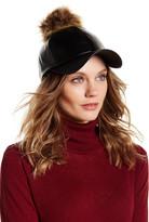 Natasha Accessories Faux Fur & Faux Leather Baseball Cap