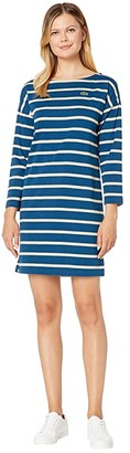 Lacoste Long Sleeve Boat Neck Striped Heavy Rib Mariniere Dress (Raffia Matting/Viennese/Flour) Women's Clothing