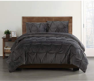 Truly Soft Everyday Pleated Velvet Full/Queen Duvet Set Bedding